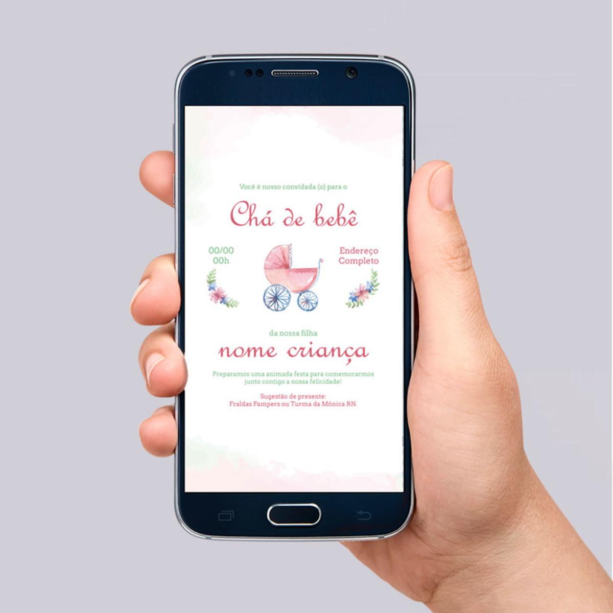 Convite Digital Chá de Bebê personalizado Lulu para Whatsapp