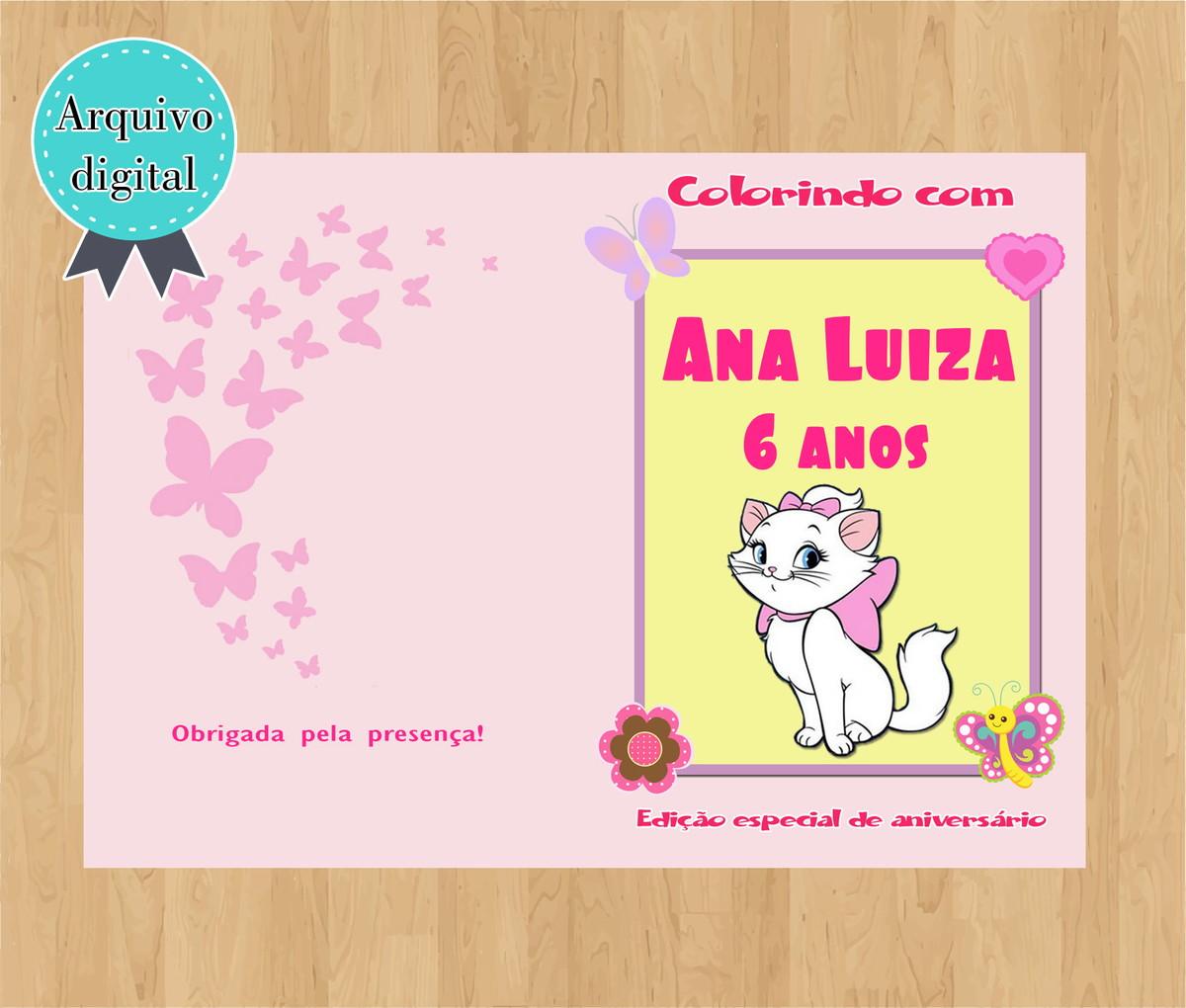 Livro De Colorir Gatinha Marie Arte Digital No Elo7 Ek5