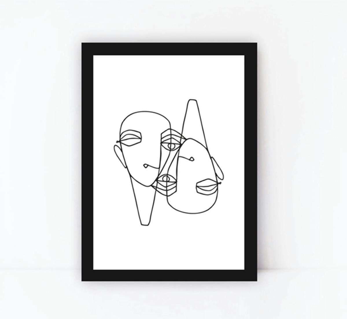 Quadro Decorativo Poster Preto E Branco Minimalista Linhas 4 No