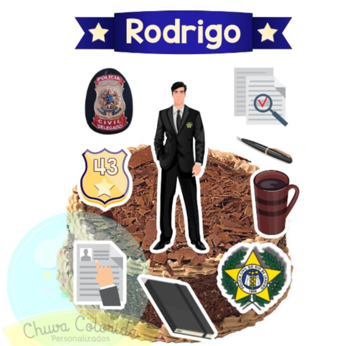 Topo De Bolo Scrap Topper De Bolo Policia Delegado No Elo7 Chuva