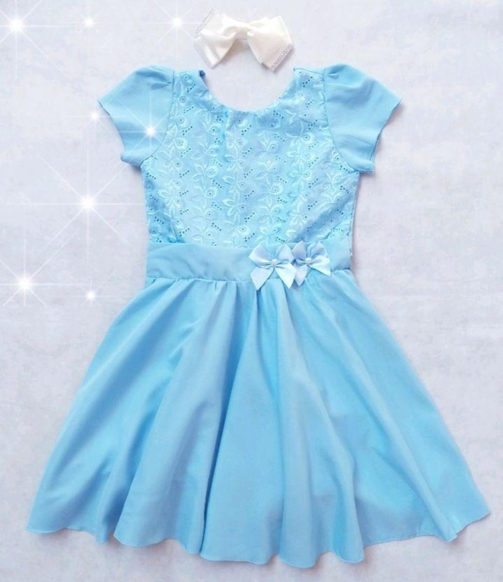 Vestido Infantil Azul Frozen Alice Veste 12