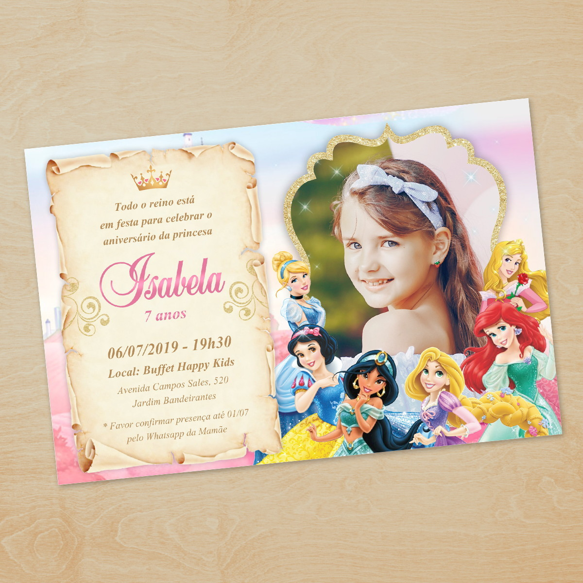 Convite Princesas Disney Com Foto Digital Imprimir Whatsapp No
