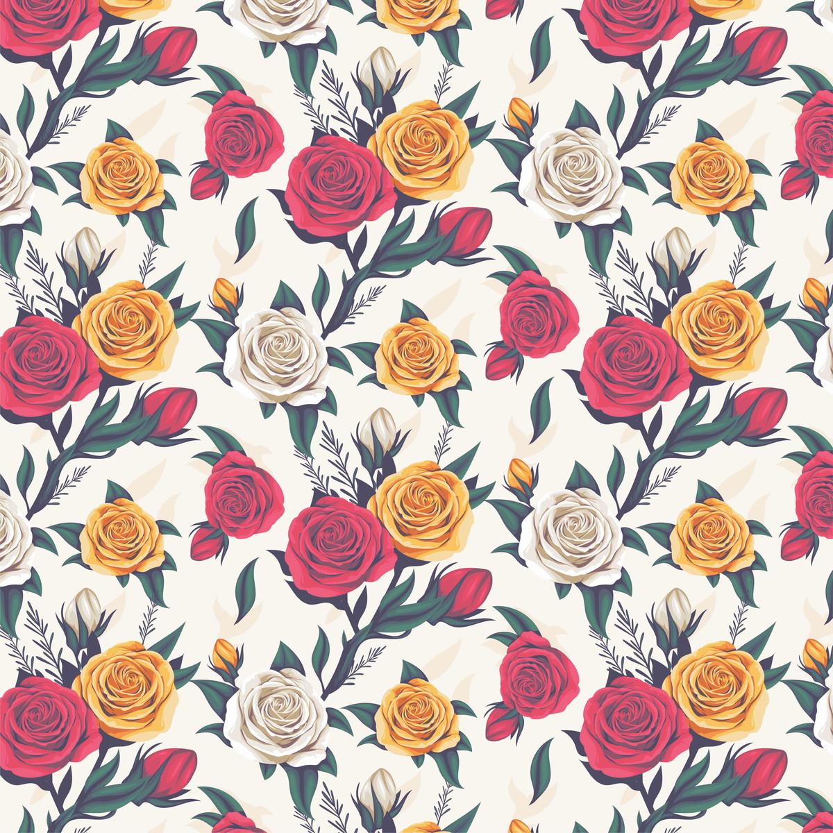 Papel De Parede Rosas Vermelhas E Amarelas Autocolante