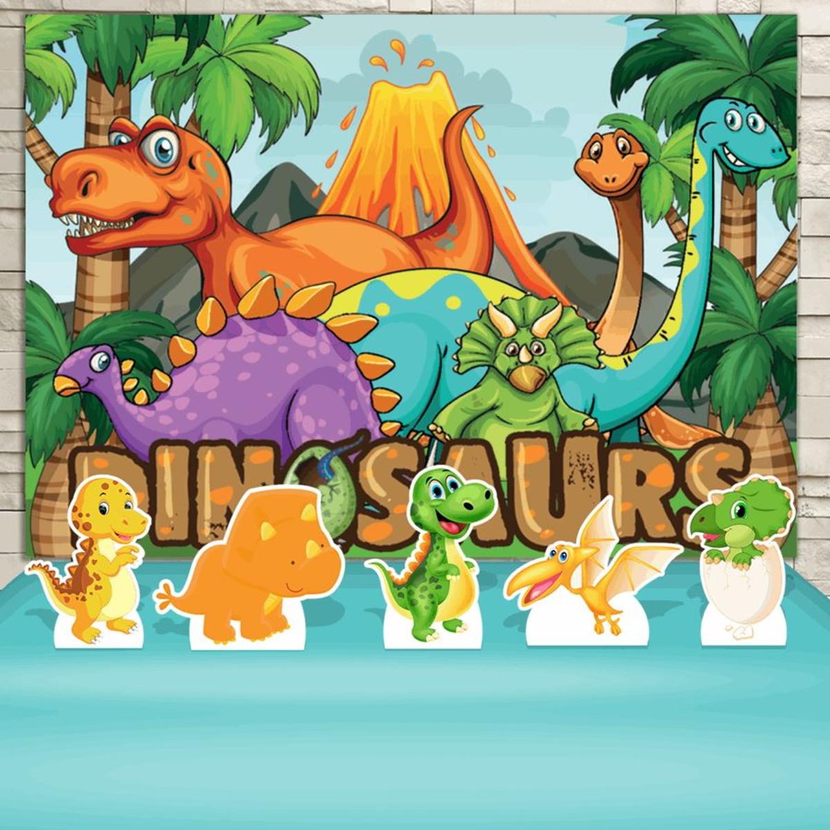 Kit Festa Prata Painel Display Dinossauro Cute Desenho No Elo7