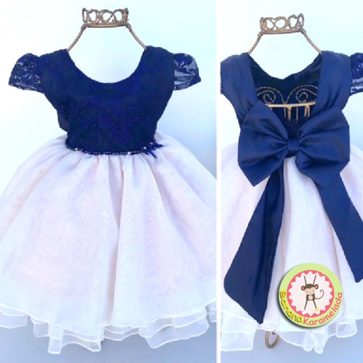 Vestido Festa Bebê Azul Marinho Jeito De Menina Tamanho M