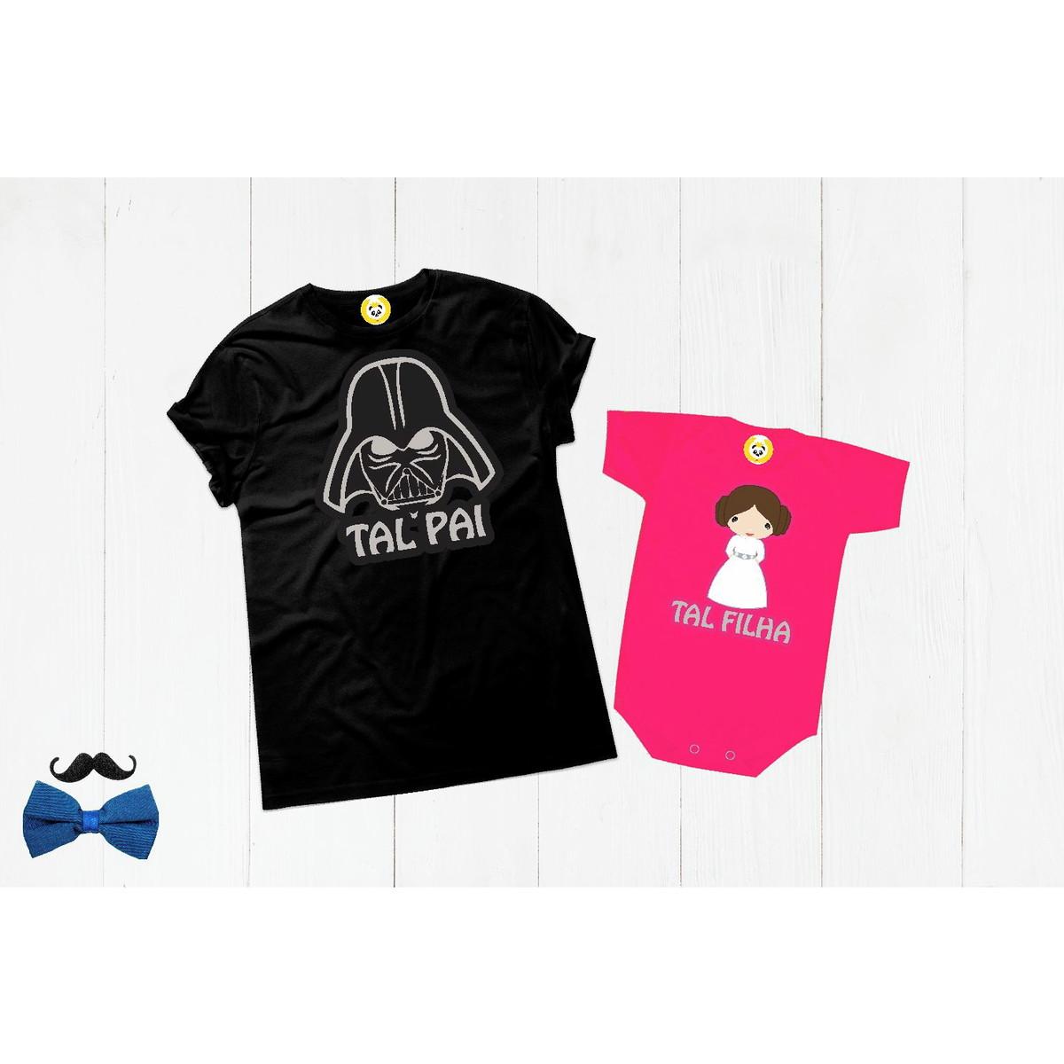 54e8588fcbb721 Kit Camiseta Darth Vader e Princesa Leia Tal Pai Tal Filha