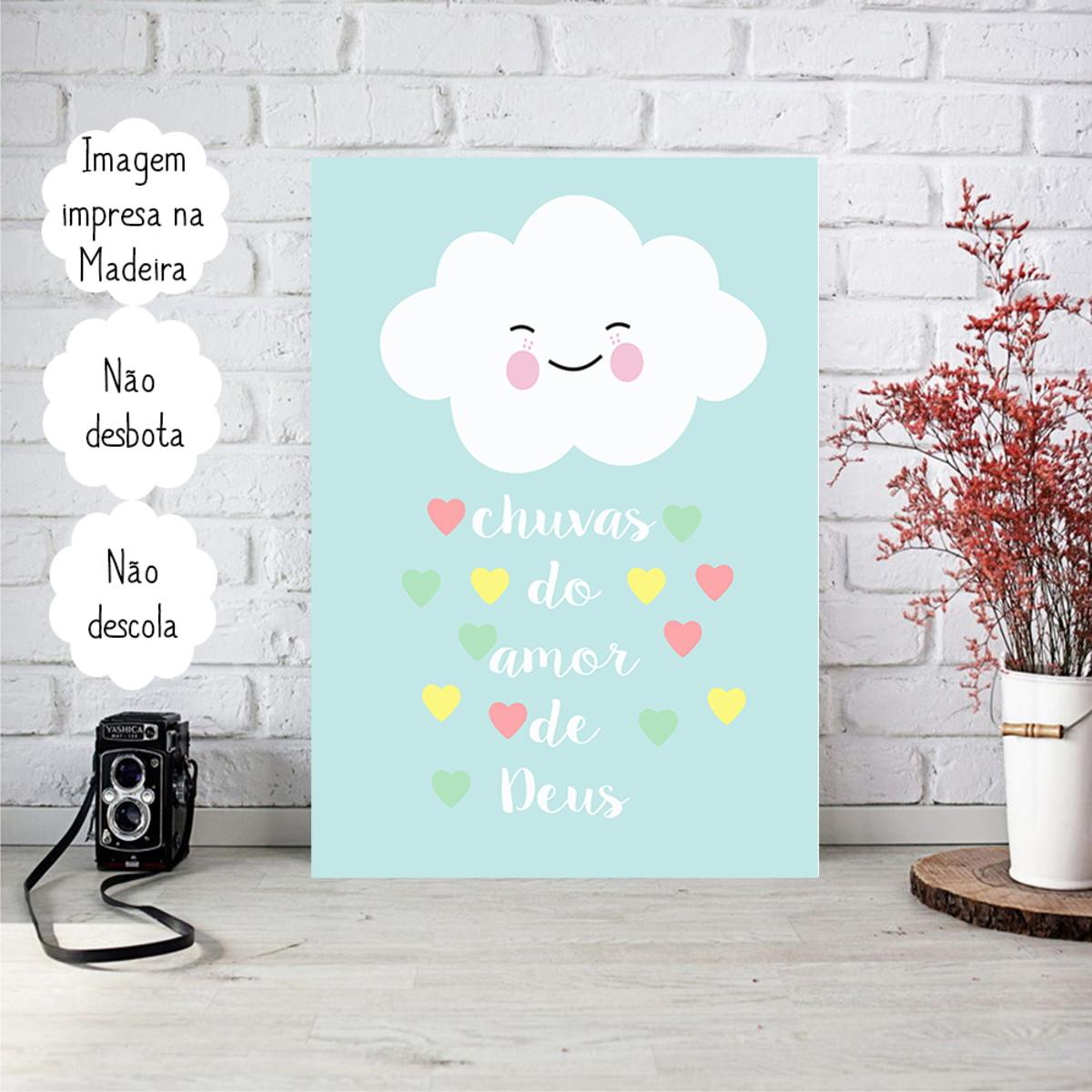 Placa Decorativa Personalizada Frase Chuva Do Amor De Deus