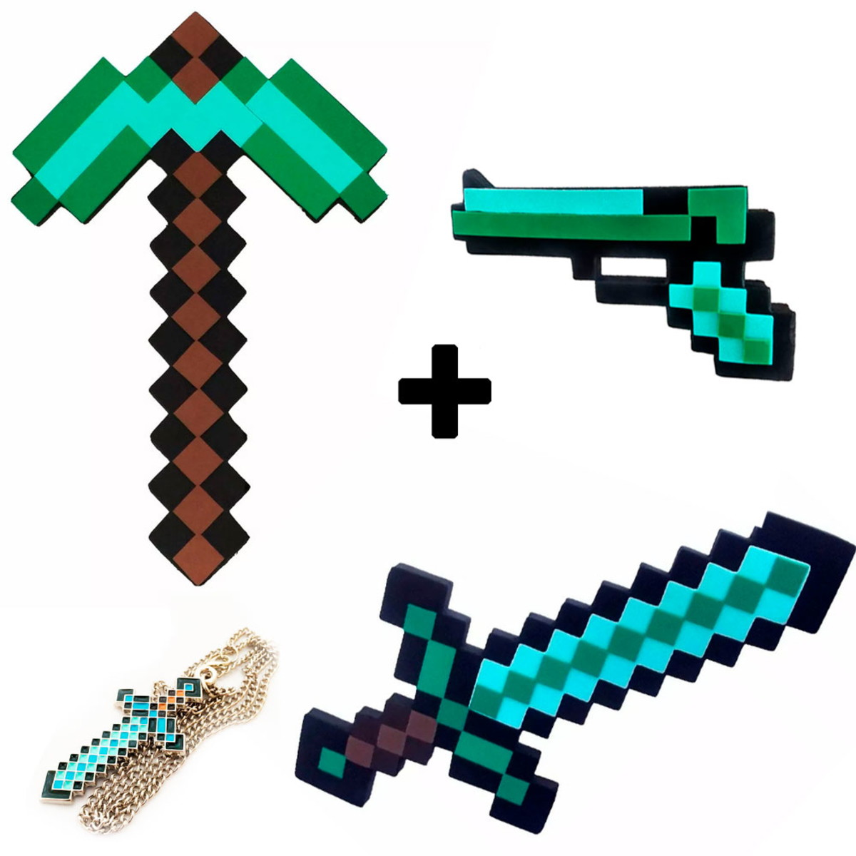 Espada De Diamante Minecraft Picareta Pistola Colar No Elo7