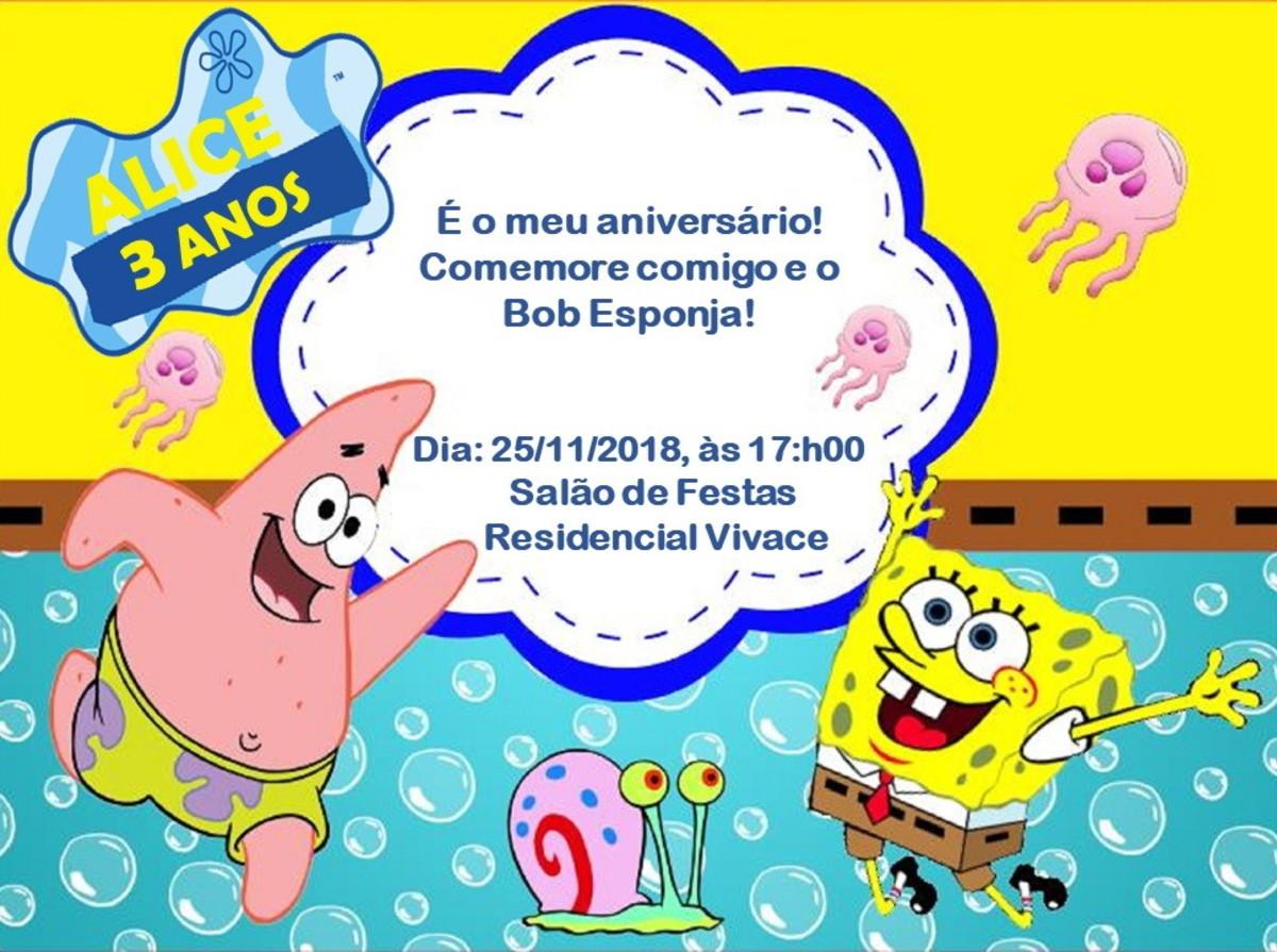 Convite Digital Personalizado Bob Esponja No Elo7 Salvador