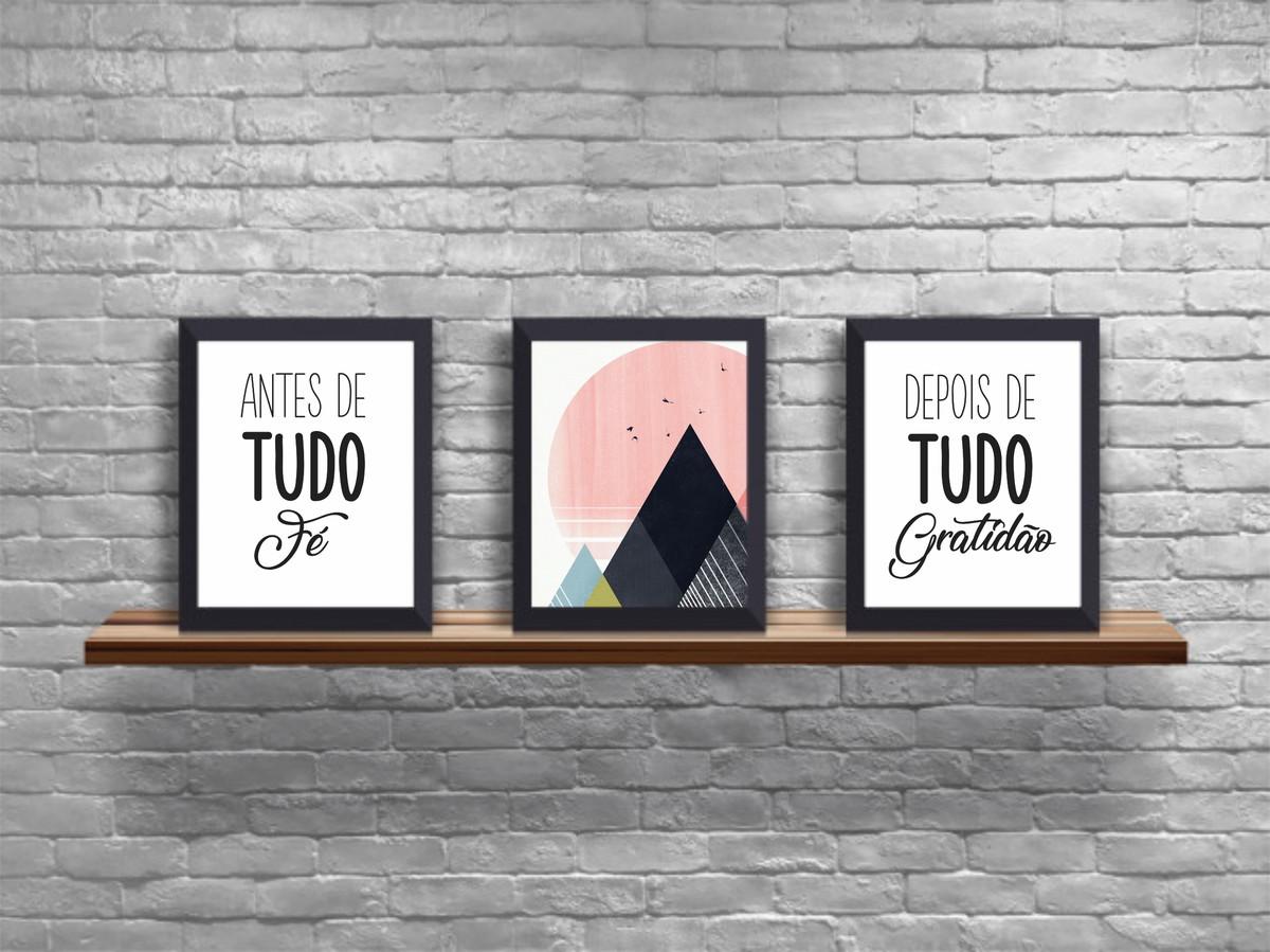Trio Quadros Decorativos Frase Antes De Tudo Fé Tumblr