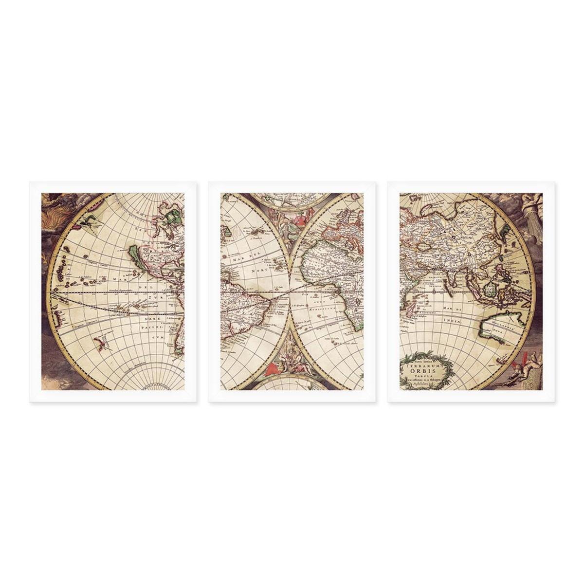 Kit 3 Quadros 27x36 Mapa Mundi Antigo No Elo7 Quero Mais