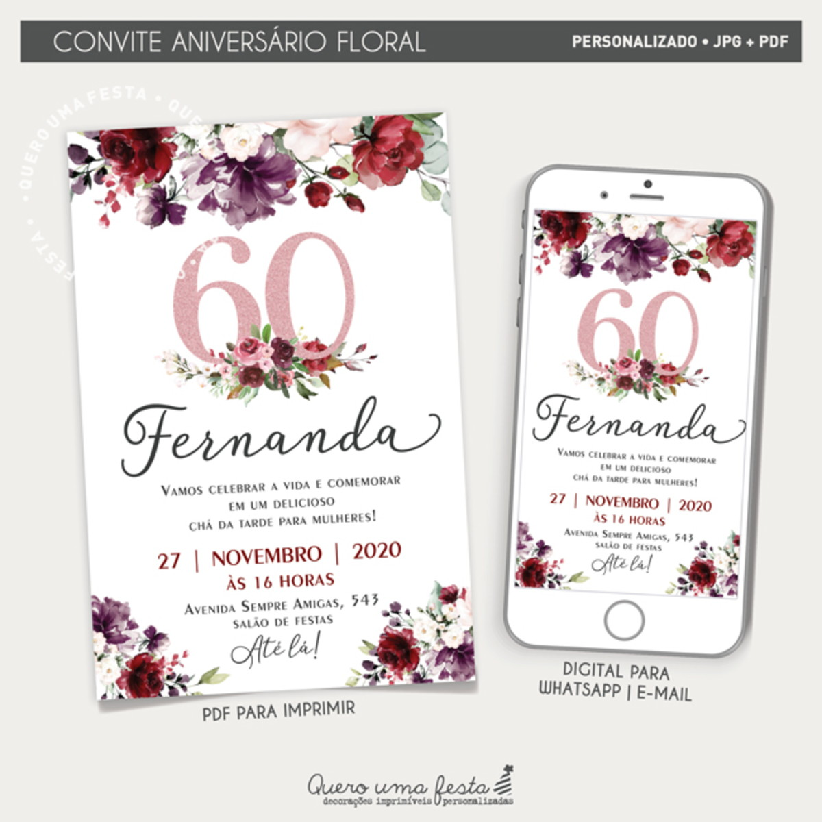 Convite Aniversario Floral Digital No Elo7 Quero Uma Festa