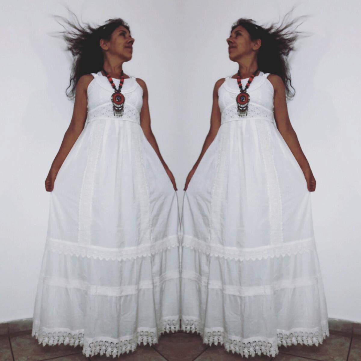 Vestido Longo Tecido Algodão Branco Lese Renda Guipir Tam P
