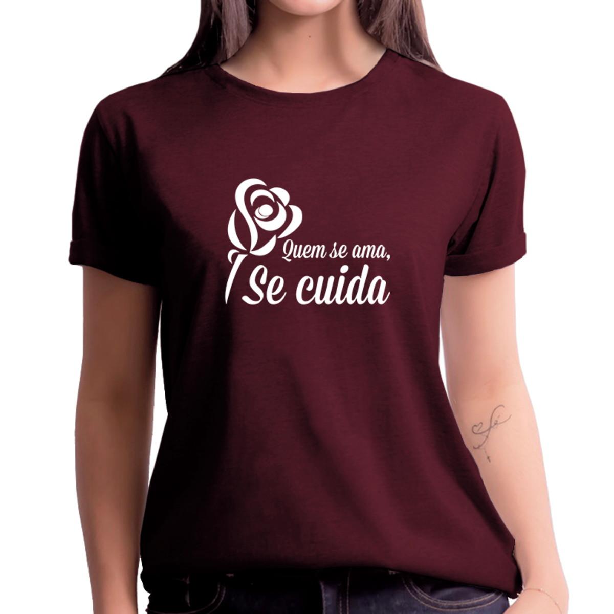 Camisa Outubro Rosa Flor Quem Ama Se Cuida Vinho