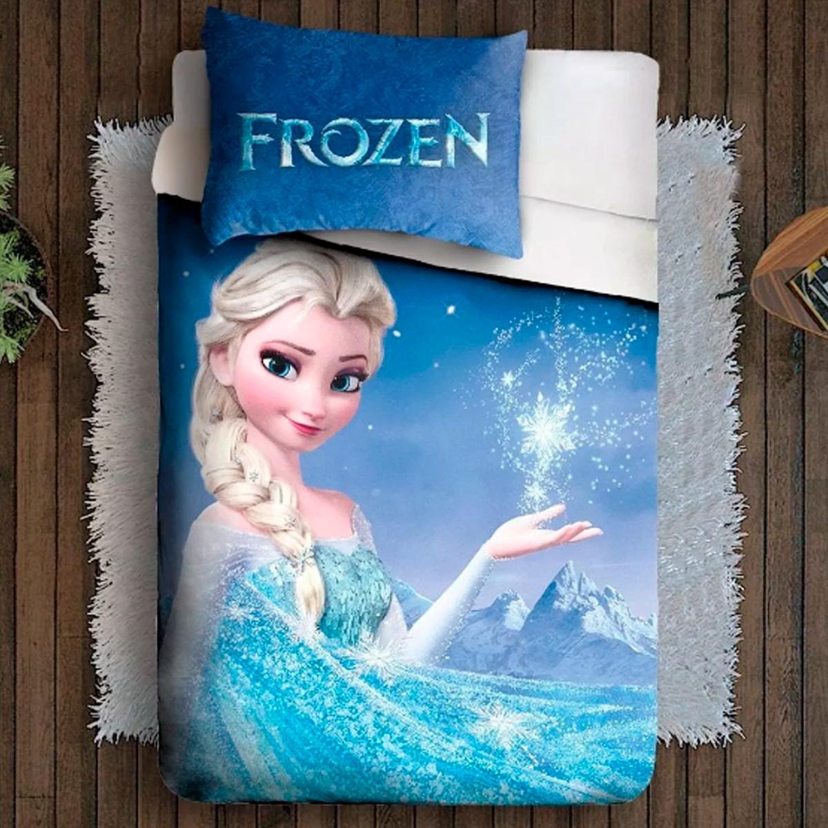 Lencol E Fronha Solteiro Disney Desenho Frozen Elsa Gelo No