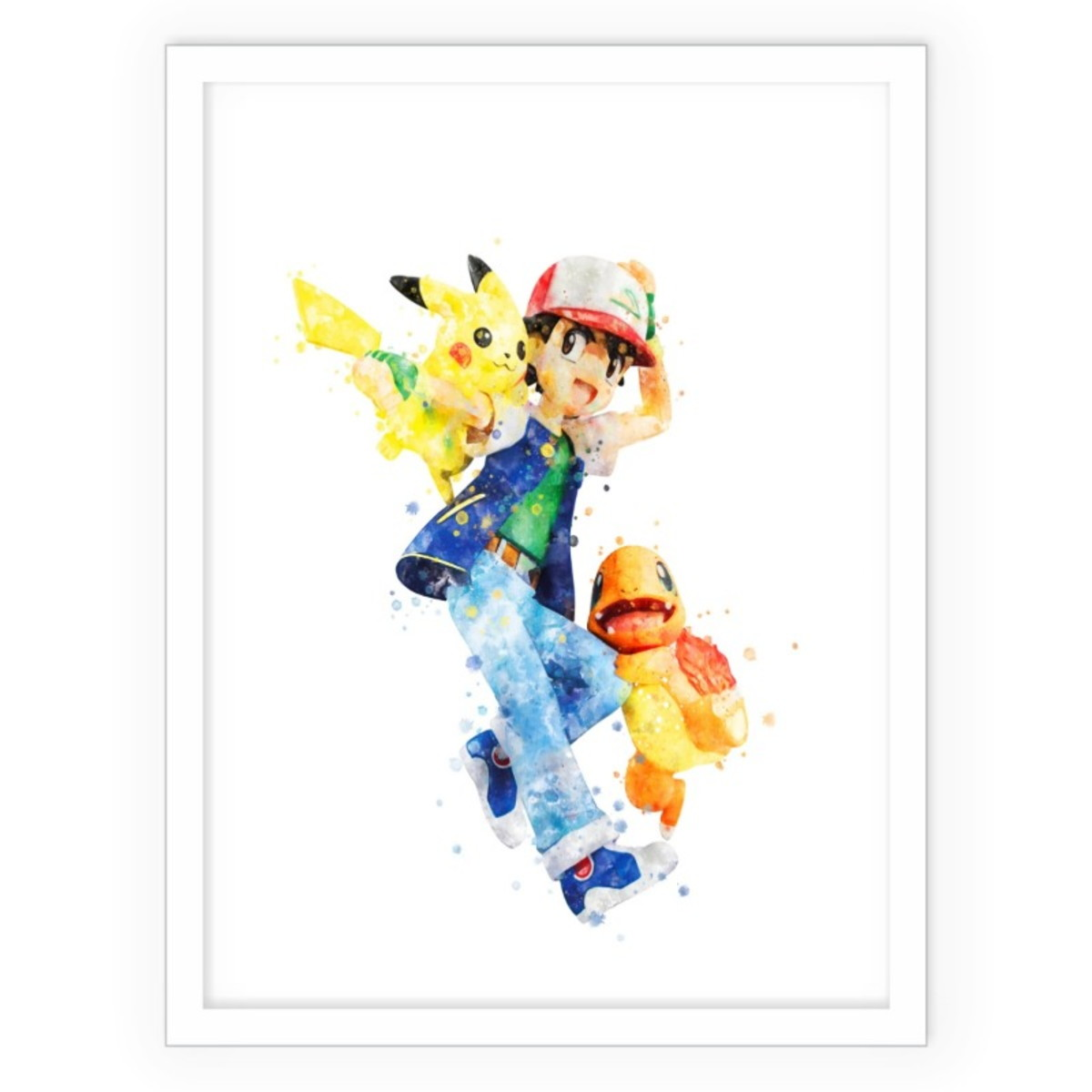 Quadro Decorativo Arte Aquarela Pokemon Charmander Pikachu No Elo7