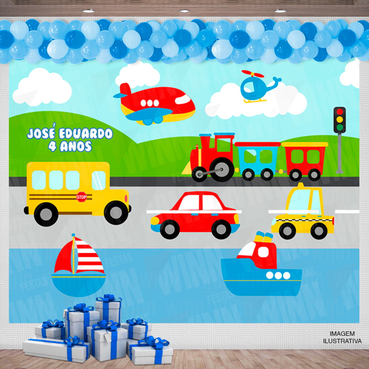 Painel Festa Infantil Desenho Carros Barcos Aviao 2x2m No Elo7