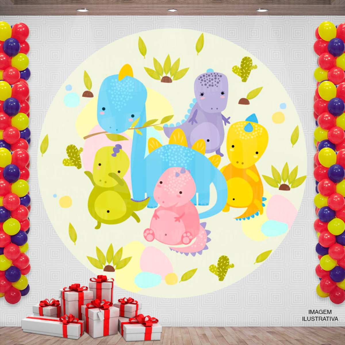 Painel Festa Infantil Redondo Desenho Dinossauros 2x2m No Elo7