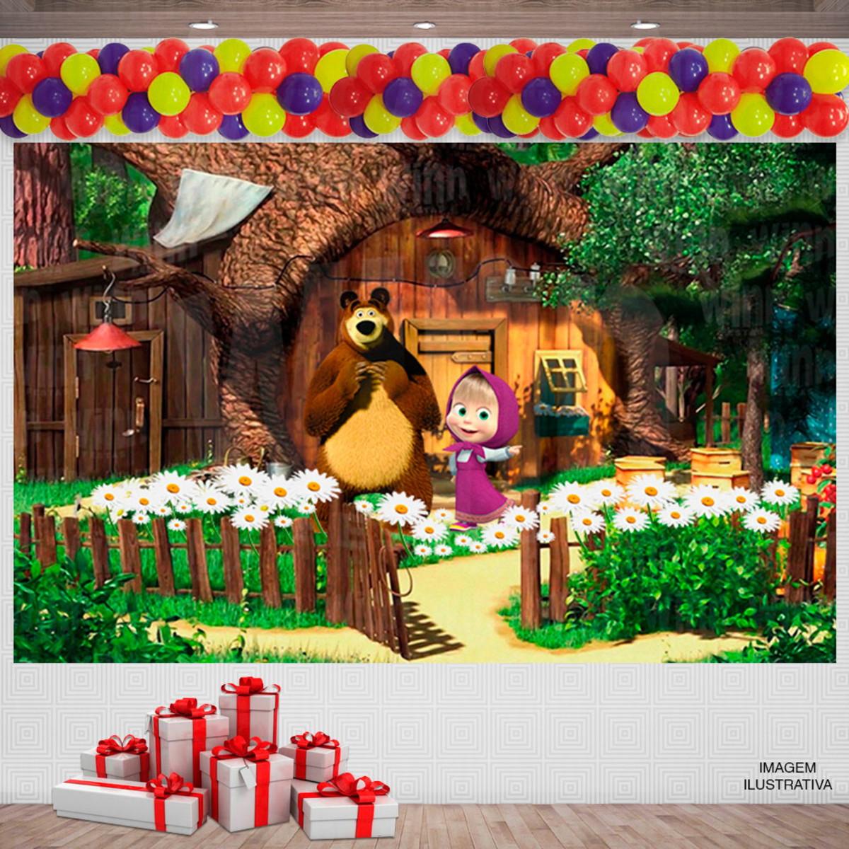 Painel Festa Infantil Desenho Masha E O Urso 3x2m No Elo7