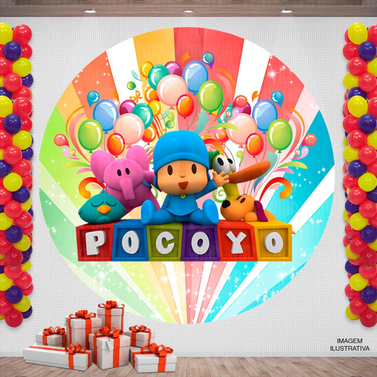 Painel Festa Infantil Redondo Desenho Pocoyo 2x2m No Elo7