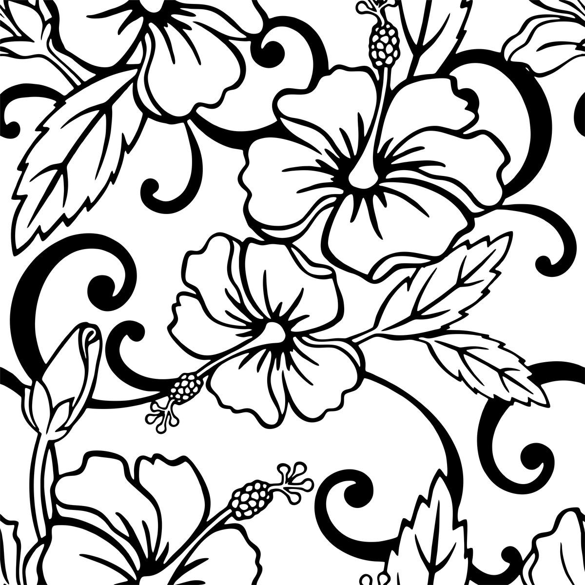 Papel De Parede Floral Tribal Preto Fundo Branco Adesivo