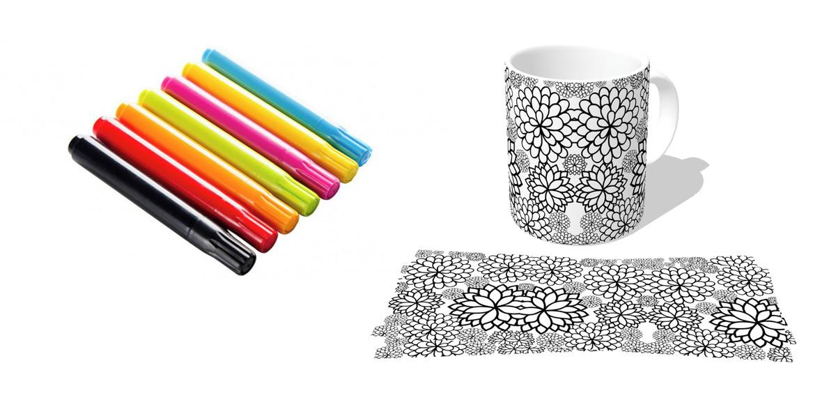 Caneca Porcelana Xicara Mais Canetinha Colorir Desenho No Elo7