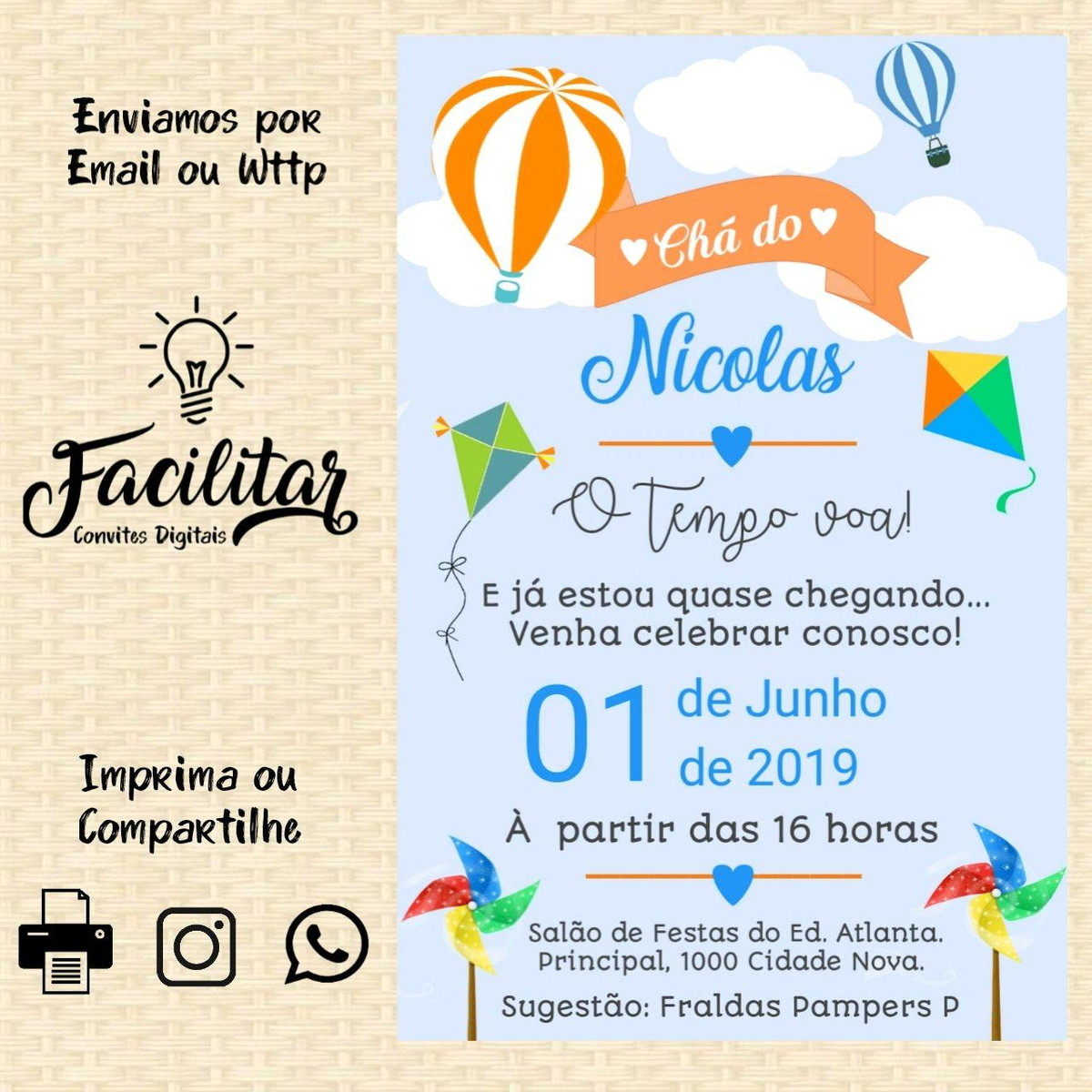 Convite Digital Baloes Pipas E Cataventos Cha De Fraldas No Elo7