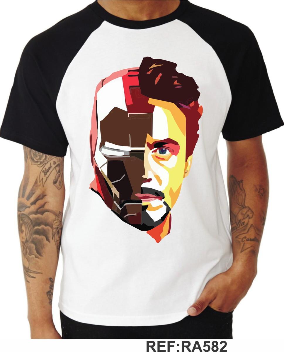 Camiseta Stark Iron Man Homem De Ferro Vingadores Raglan