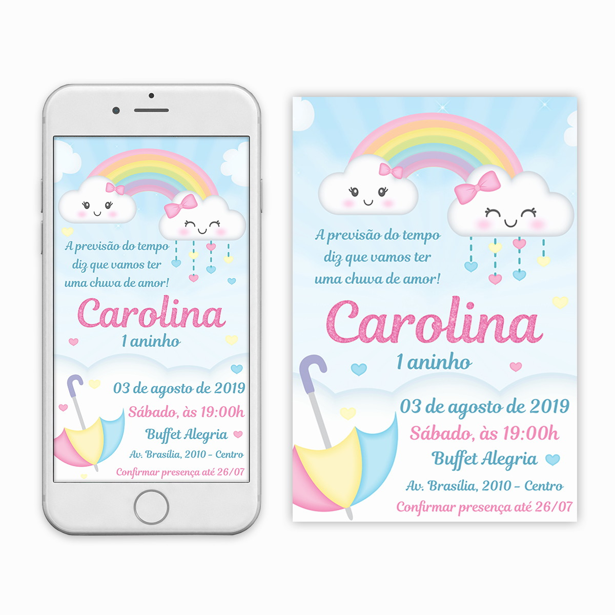 Convite Cha De Fraldas Chuva De Amor Imprimir Whats Digital No