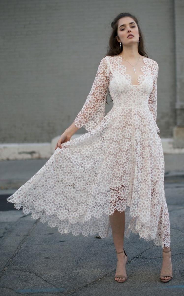Vestido Noiva Renda Guipure Midi Manga Flare Mullet Boho
