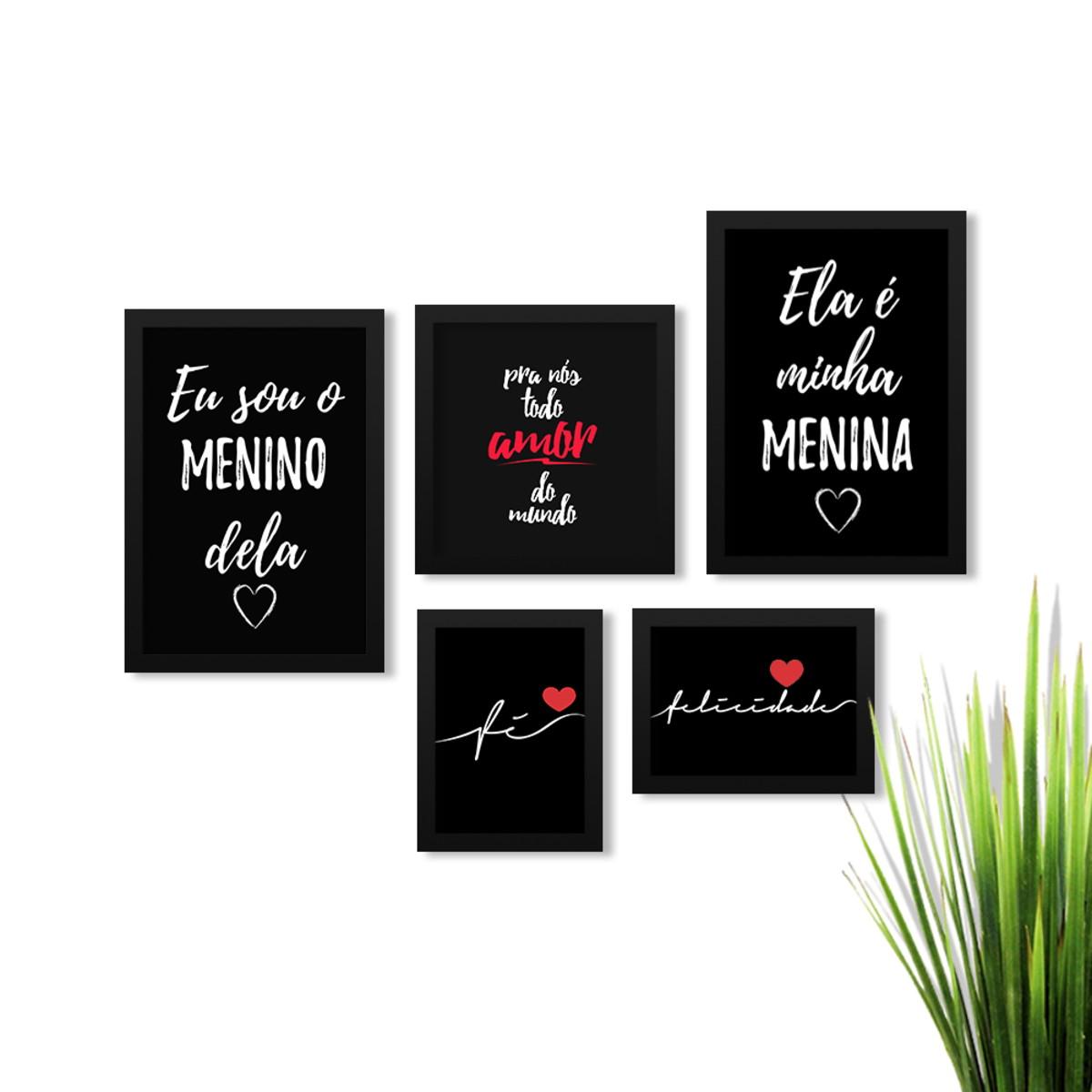 Kit 5 Quadros Quarto Casal Frases Amor Moldura Preta