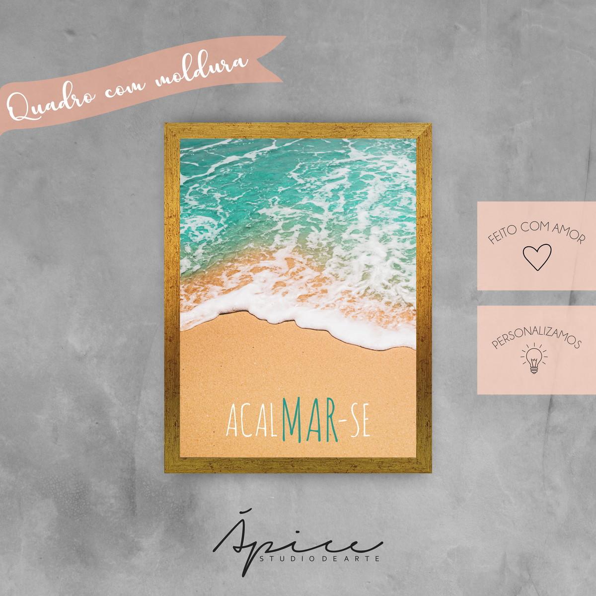 Quadro 20x30cm Frase Acalmar Se Mar Praia Verão Beach Poster