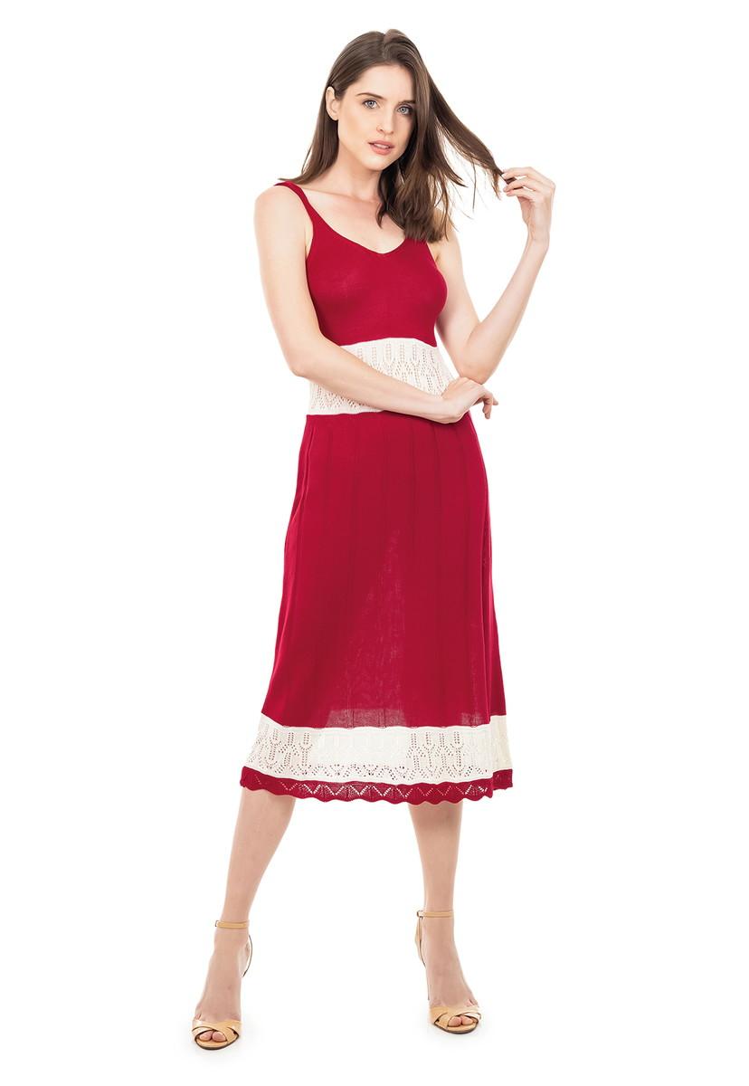 Vestido Tricot Midi Listrado Alça Decote V Vermelho 5148