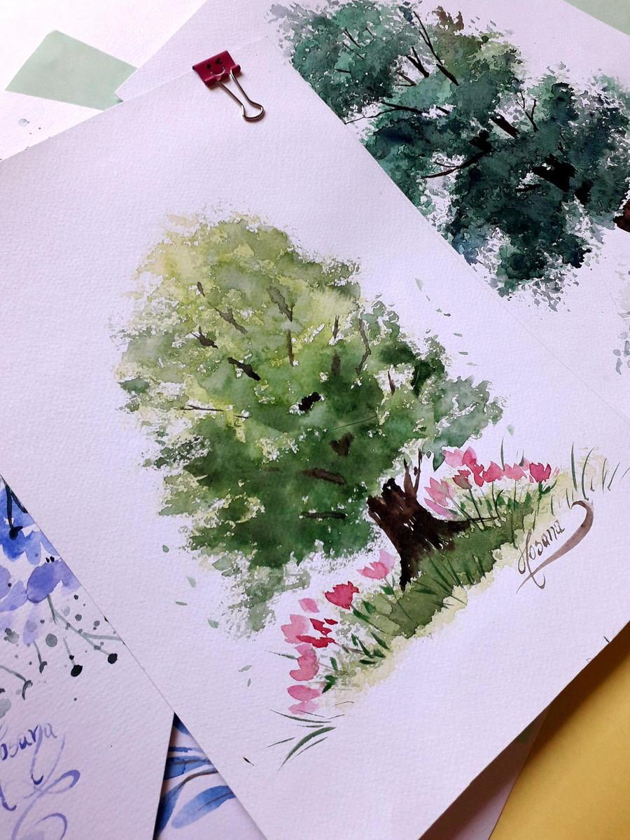 Pintura Em Aquarela Arvore Verde No Elo7 Pinturas Em Aquarelas
