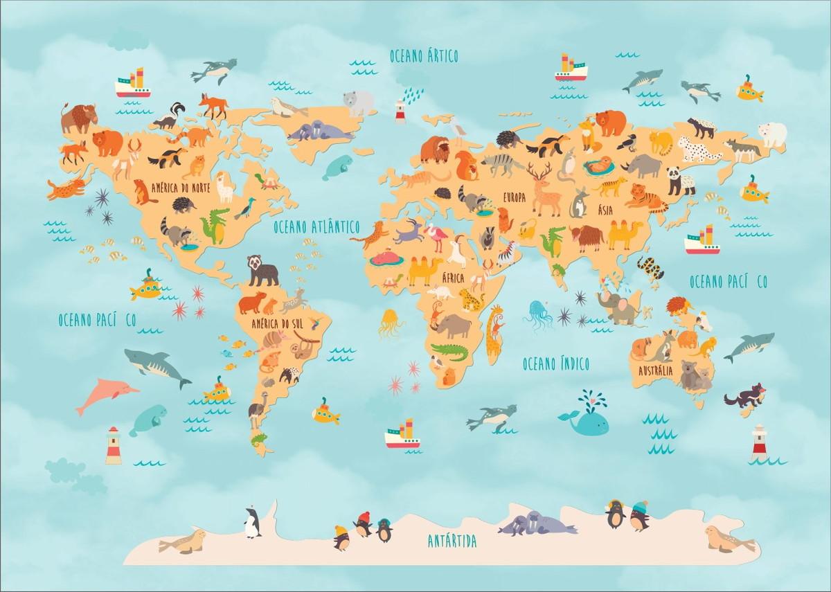 Papel De Parede Infantil Mapa Mundi Luana Da Silva