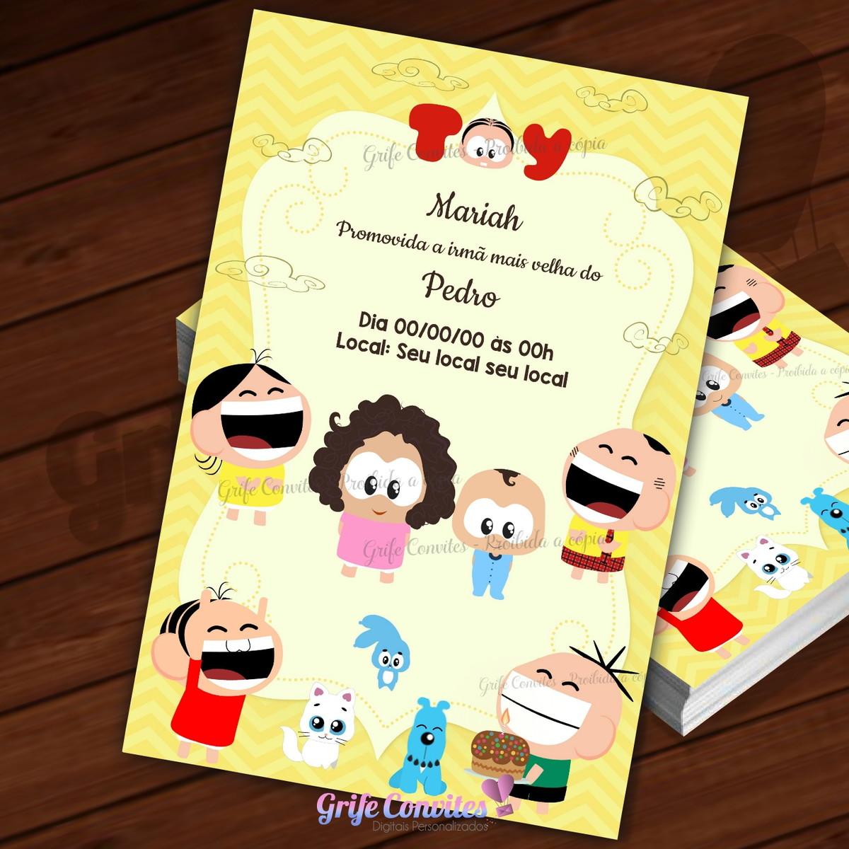 Convite Digital Monica Toy Com Desenho De Duas Criancas No Elo7