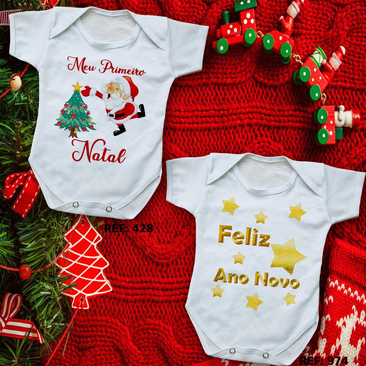 Body Para Bebê Roupinha Personalizado Natal E Ano Novo