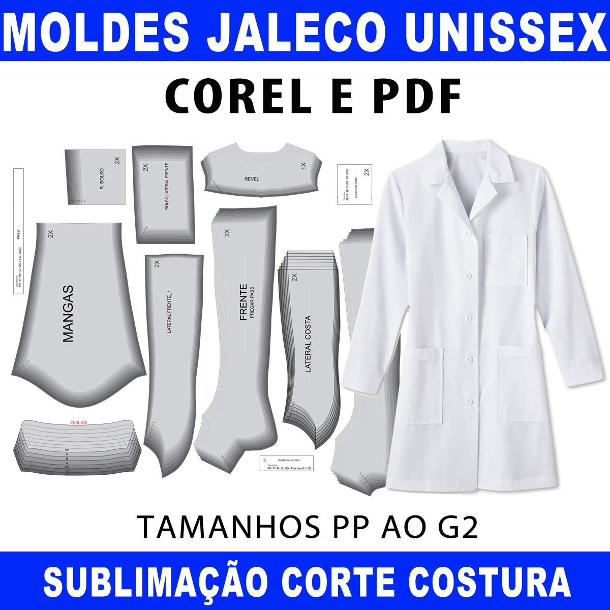 Moldes Profissionais Jalecos Corel Pdf Molde Jaleco No Elo7