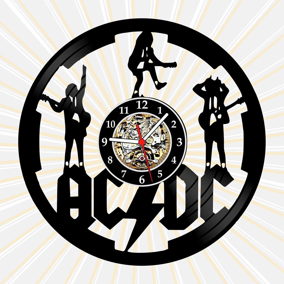 Relógio Parede Acdc Disco Vinil Vintage Anos 80 Bandas Rock