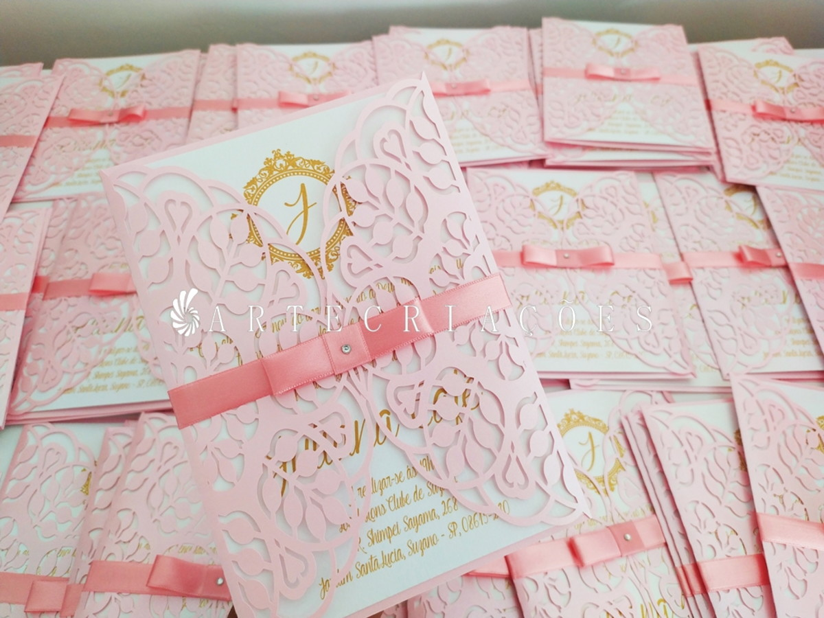 Convite casamento - Rosa - CV 01 - PROMOÇÃO no Elo7