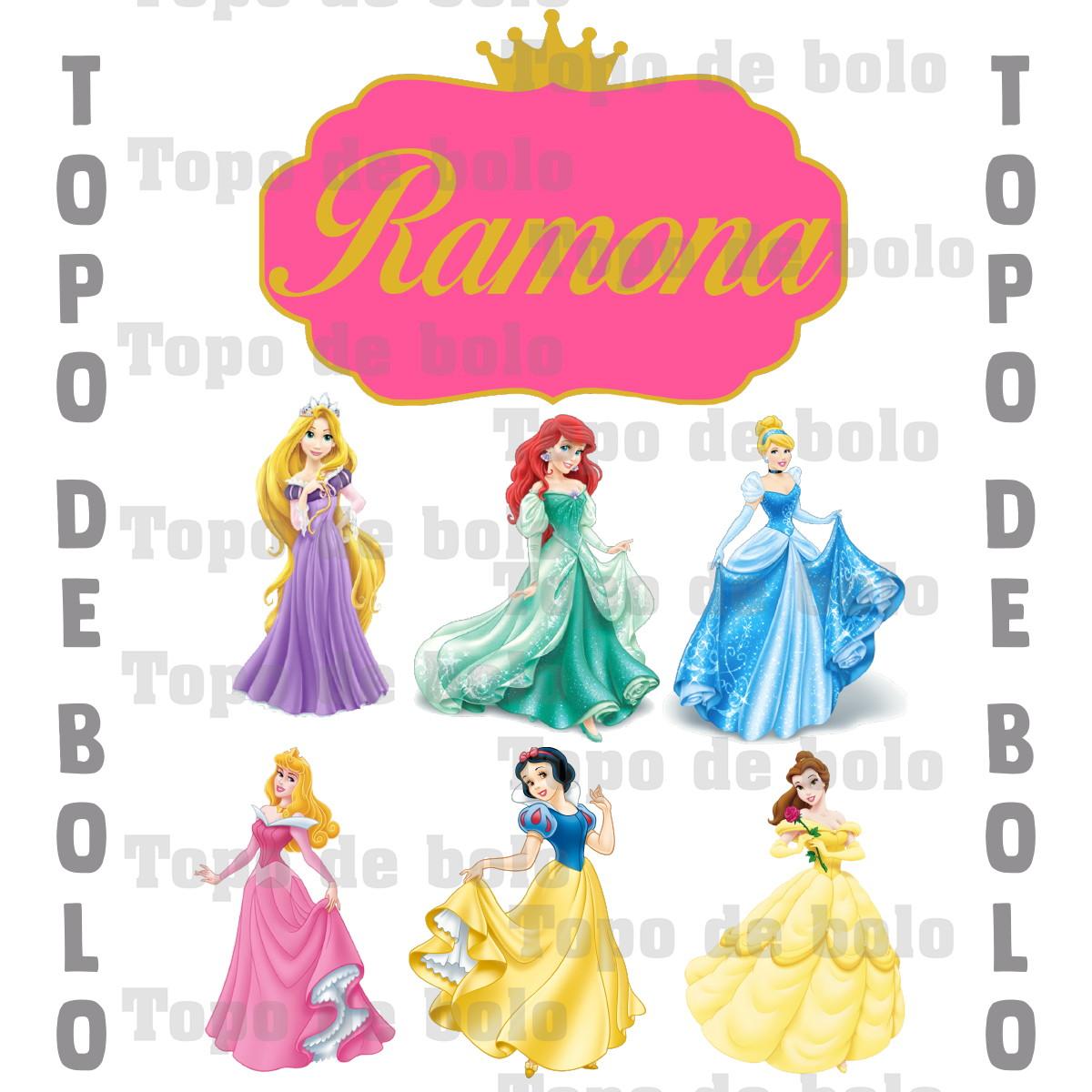 Topo De Bolo Digital Princesas Da Disney Para Imprimir No Elo7