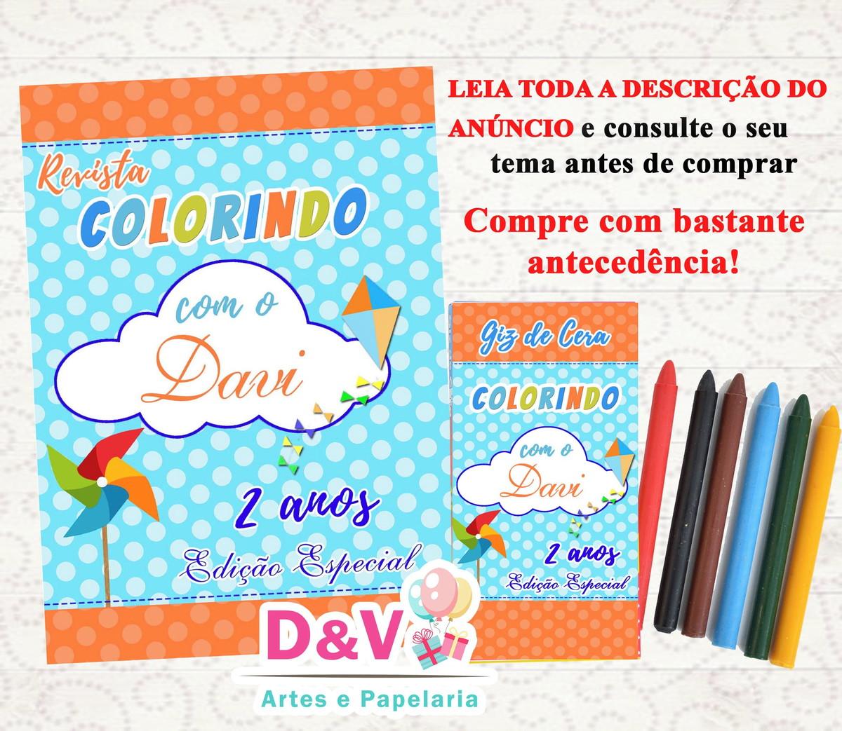 Kit Colorir Pipa Catavento Revistinha 10x15 Giz De Cera No