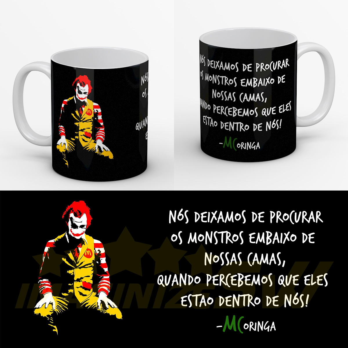Caneca Frases Do Coringa Joker Heath Ledger Mc Donalds