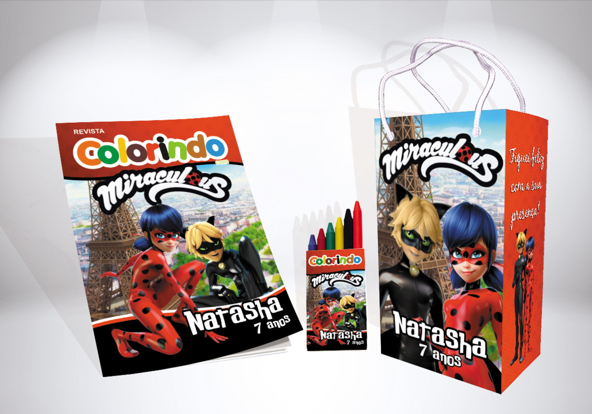 Kit De Colorir Ladybug E Cat Noir Sacola Giz Revista Brinde No