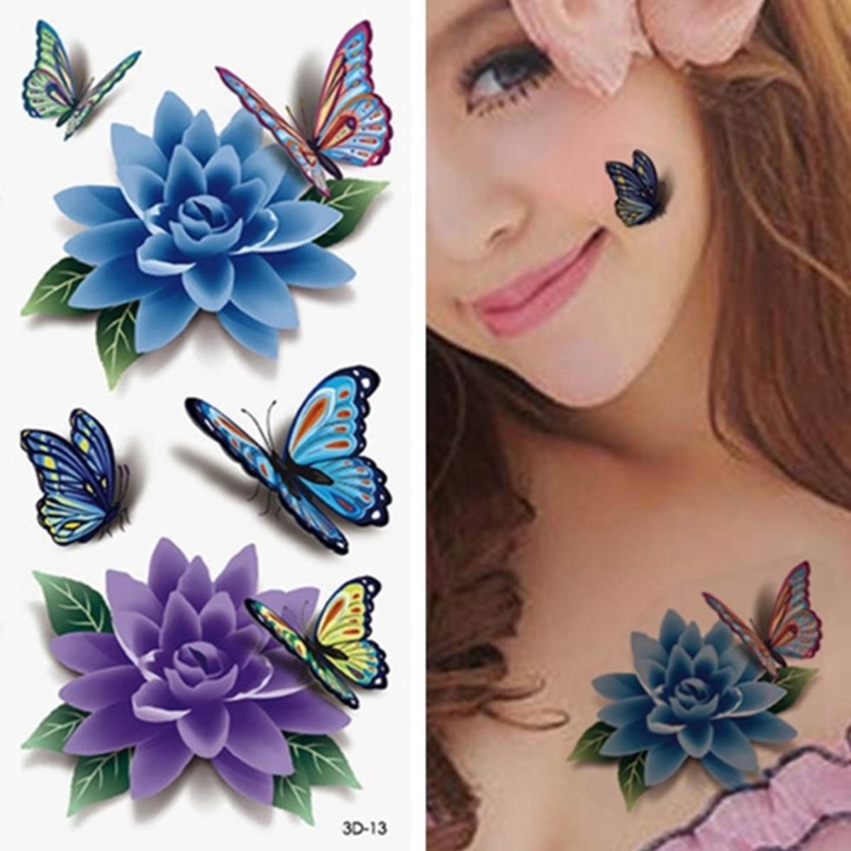 Tatuagem Temporária Adesiva 3d Flor De Lotus Kit 3cartelas