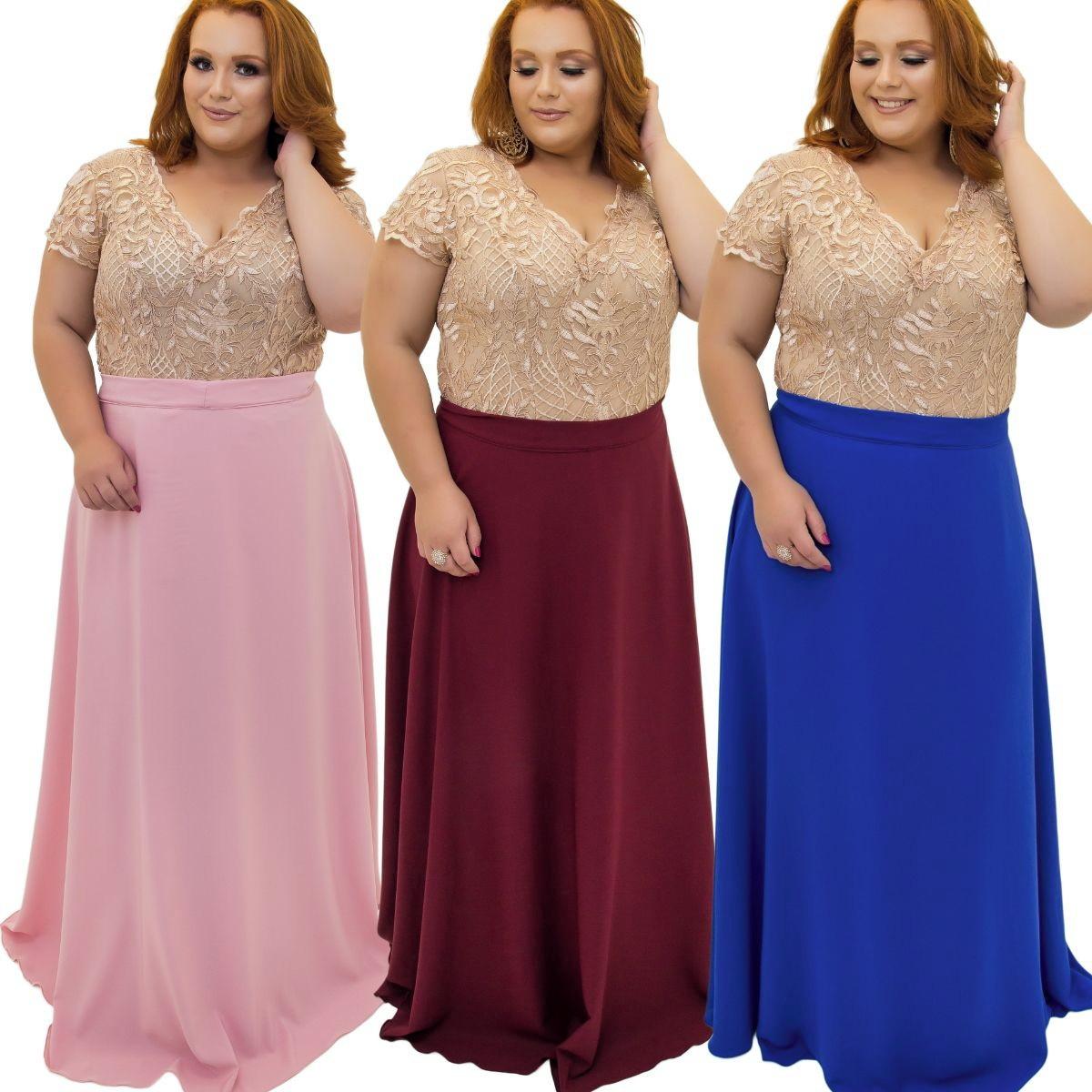 Vestido Festa Plus Size Luxo Madrinha Formatura Mãe Da Noiva