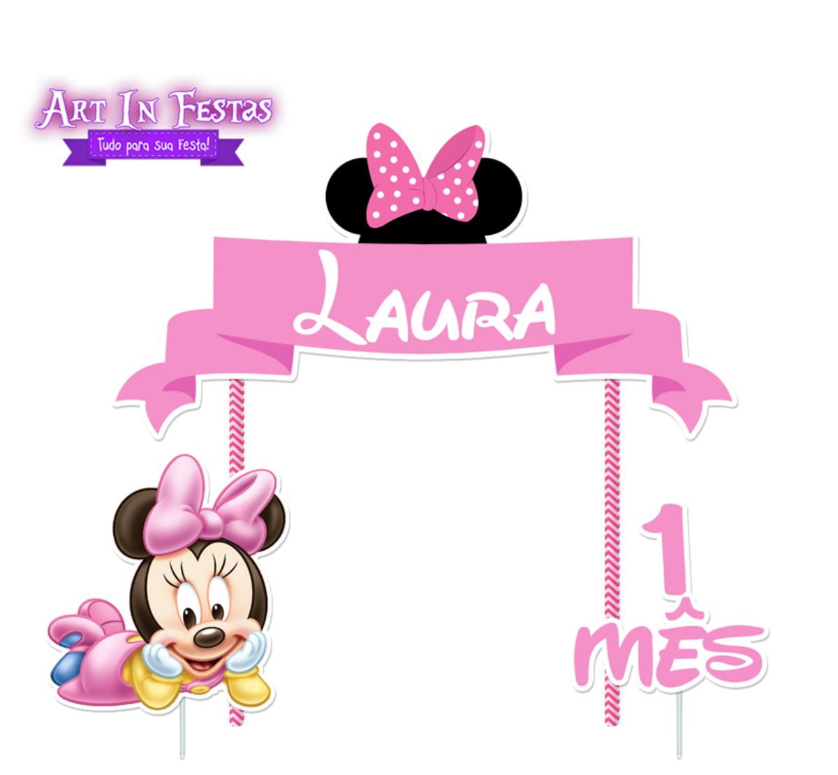 Topo De Bolo Personalizado Minnie Baby No Elo7 Art In Festas