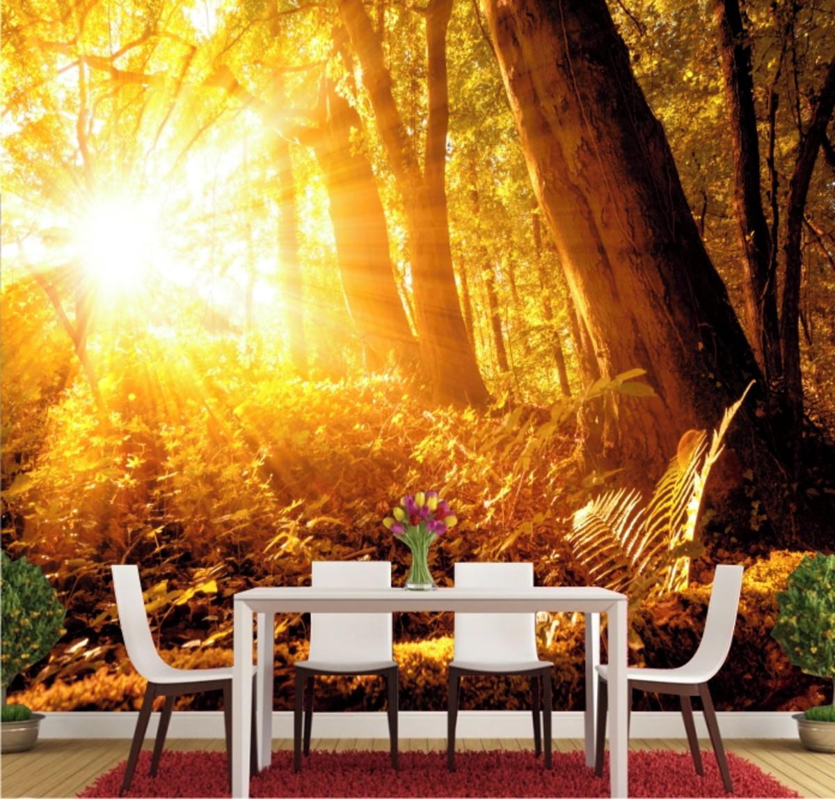 Adesivo Parede Por Do Sol Paisagem Natureza Floresta Gg240 No Elo7