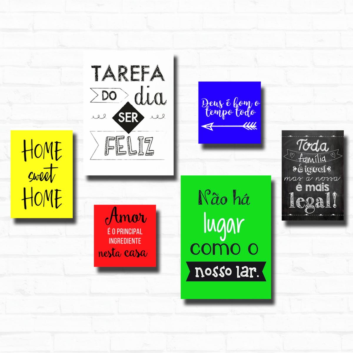 Kit 6 Placas Decorativas Frases Motivacionais Cores