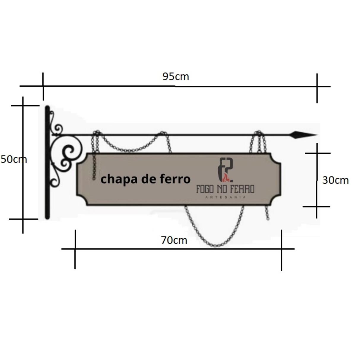 Placa Medieval Com Moldura Arabesco E Bandeira Em Ferro No Elo7